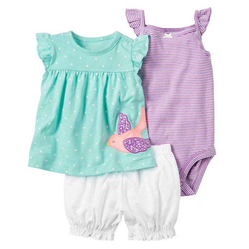 Baby Rompers Summer Baby Girl Clothing Sets 2017 Baby Girl Clothes Cute Newborn Baby Clothes Roupas Bebe Infant Jumpsuits