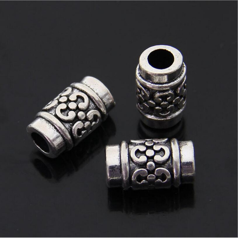 50PCS Stainless Steel Hollow Tube Space Beads for DIY Jewelry Making 12mmx4mm