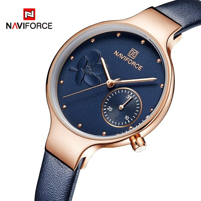 Mulheres Relógios NAVIFORCE Marca de Luxo Da Moda de Quartzo Das Senhoras do Relógio de Strass Vestido Relógio de Pulso Azul Simples Relógio Relogio feminino
