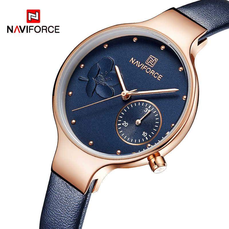 女性腕時計 NAVIFORCE 高級ブランドファッションクォーツレディースラインストーン腕時計ドレス腕時計シンプルなブルー時計レロジオ Feminino