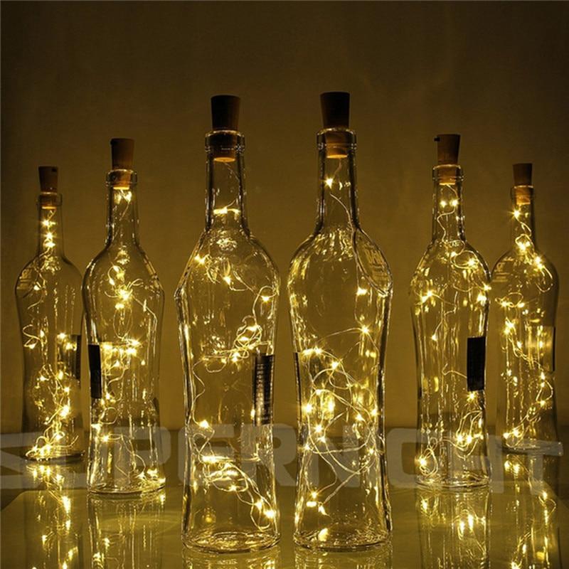 6.5ft 20 LED Wijnfles Lichten Kurk Batterij Aangedreven Guirlande DIY Kerst String Lights Voor Party Halloween Bruiloft