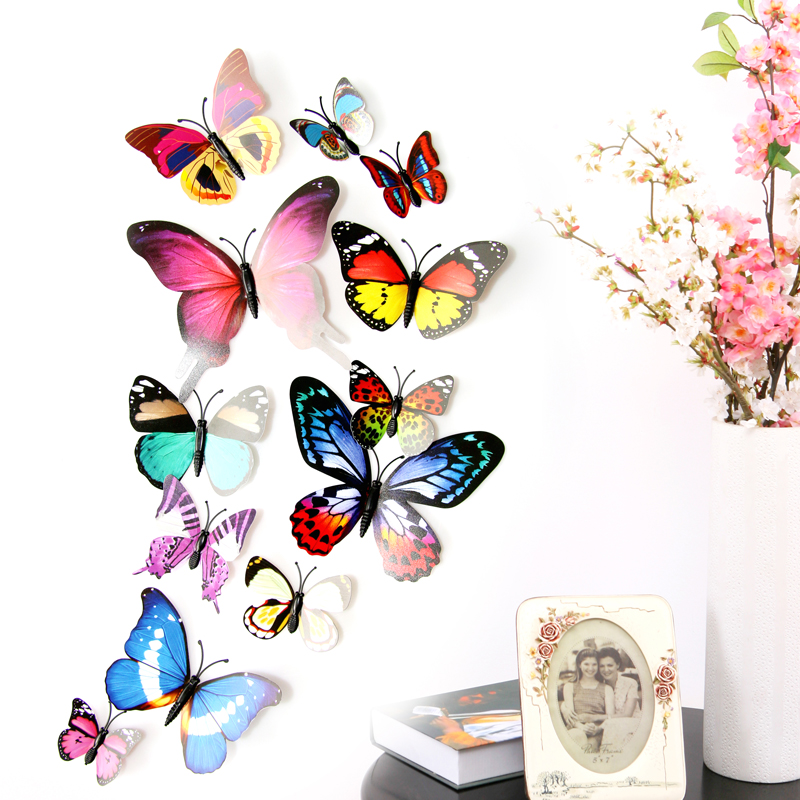 12pcs 3d Lifelike Butterfly Diy Wall Sticker Kids Baby Rooms Kitchen Decoration Butterfly Sticker For Party