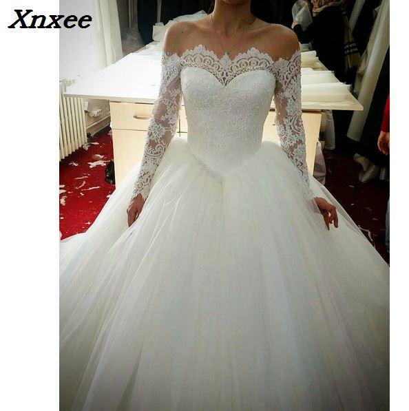 Robe de mariee 2018 ชุดวินเทจ vintage สำหรับงานแต่งงานปิดไหล่แขนยาวเจ้าหญิงชุดเจ้าสาวรถไฟ vestidos Xnxee-ใน ชุดเดรส จาก เสื้อผ้าสตรี บน   1