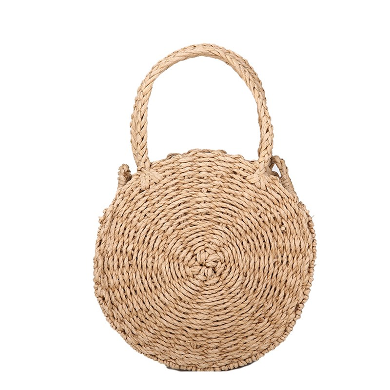 Round Handbag Crossbody Chain Bag Ladies Shoulder Crossbody Chain Beach Messenger Bag Girl Retro Rattan Woven Straw glitter decor chain crossbody bag