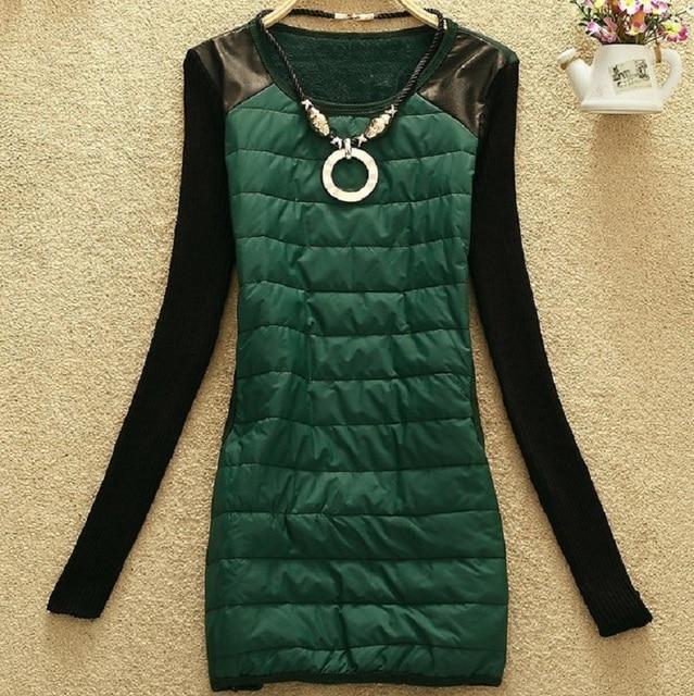 Kleid aus leder und stoff