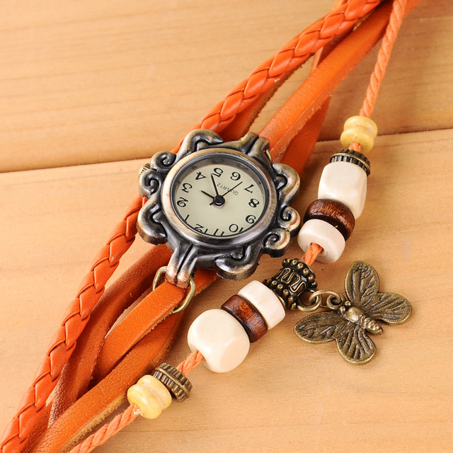 2019 Fashion Women Watches Korean Style Vintage Wooden Beads Butterfly Watch Leather Ropes relogio feminino Ladies Watch Women 2