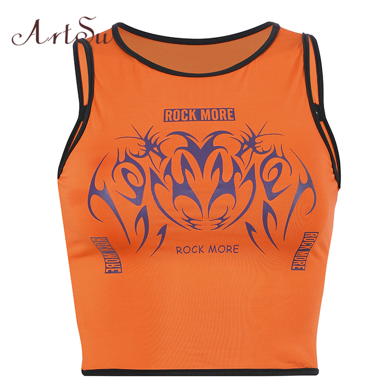 ArtSu Women Sexy Hollow Out Sleeveless   Tank     Top   2019 Streetwear Printed Orange   Tank     Tops   Summer Bodycon Crop   Top   ASVE20614