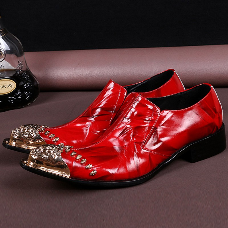 Plus Size Red Luxury Pointed Toe Slip on Man Formal Dress Loafers Genuine Leather Men's Wedding Party Shoes For Bridal SL311 цена 2017