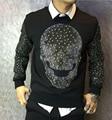 Осень Череп дизайн толстовка верхняя одежда тонкий тонкий мужской 100% хлопок лучшее качество толстовка