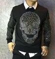 Otoño Cráneo diseño sudadera con capucha sudadera con capucha de prendas de vestir exteriores fina delgada masculina 100% algodón de la mejor calidad