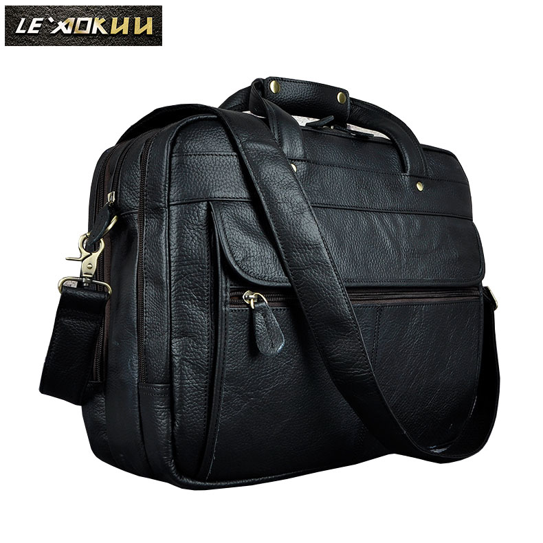 Men Real Leather Retro Business Briefcase Attache Messenger Bag Male Design Laptop Commercia Document Case Portfolio 7146-b