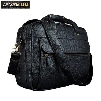 Men Real Leather Retro Business Briefcase Attache Messenger Bag Male Design Laptop Commercia Document Case Portfolio 7146-b