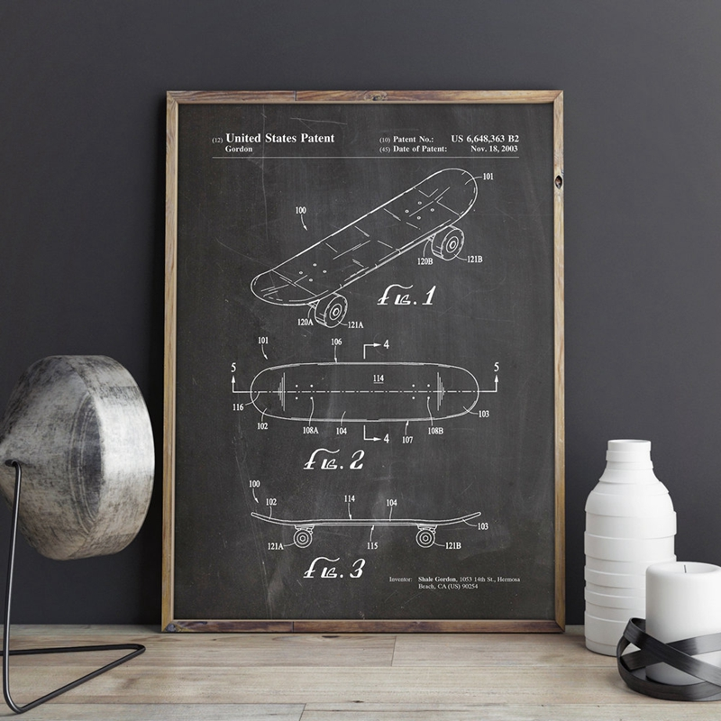 Double Kick Skateboard Patent Canvas Painting Skater Wall Art Posters Print Home Room Decor Vintage Print Blueprint Sports Gift