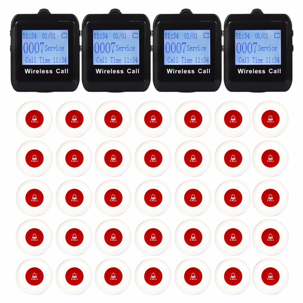 4 Watch Pager Receiver 35 Call Button 433MHz Wireless Calling Paging System Guest Waiting Pager Restaurant Equipment F3258 433mhz restaurant pager wireless calling paging system watch wrist receiver host 10pcs call transmitter button pager f3255c