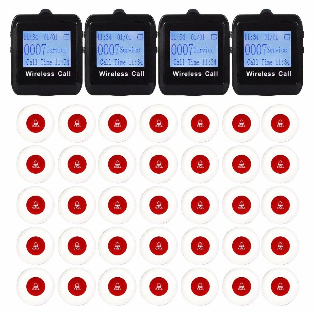 4 orologio Cercapersone Ricevitore + 35 Pulsante di Chiamata 433 MHz Senza Fili di Chiamata di Paging del Sistema di Chiamata Ospite Cercapersone Ristorante Attrezzature F32584 orologio Cercapersone Ricevitore + 35 Pulsante di Chiamata 433 MHz Senza Fili di Chiamata di Paging del Sistema di Chiamata Ospite Cercapersone Ristorante Attrezzature F3258