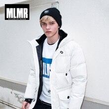 MLMR erkek kapşonlu orta uzun kış ceket kalınlaşmak sıcak parka