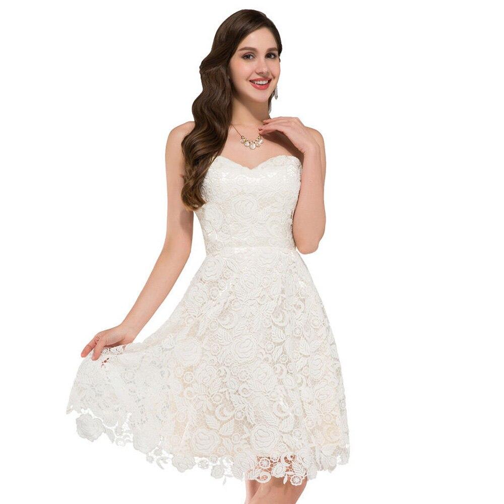 Elfenbein Vintage Spitze Kurze Brautkleider Strand Stil Brautkleider