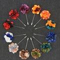 12 clases de Color Mezclado de La Flor de Largo Pin Broche de La Boda o del Partido Hecho A Mano Para Los Hombres de Traje Broches Ramillete Boutonniere