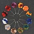 12 tipos de Cores Misturadas Flor Pino Longo Casamento ou Festa Broche Feito À Mão Para O Terno dos homens Broches Corsage Boutonniere