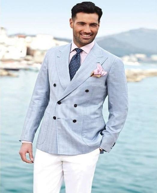 Light Blue Double Breasted Blazer White Pants Groom