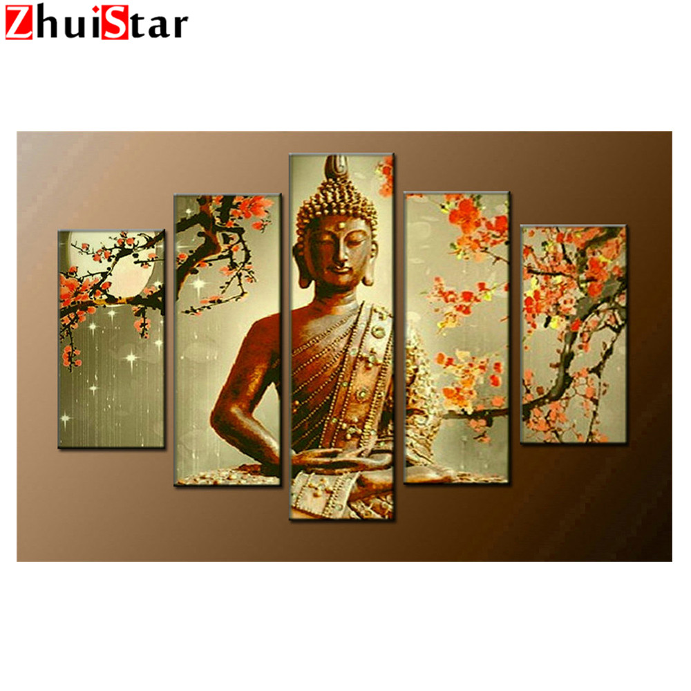 5 PCS Multi-picture Diamond Painting Buddha Needle Art Gifts Room Decor Diamond Mosaic Embroidery Religion Rhinestones XY15 PCS Multi-picture Diamond Painting Buddha Needle Art Gifts Room Decor Diamond Mosaic Embroidery Religion Rhinestones XY1