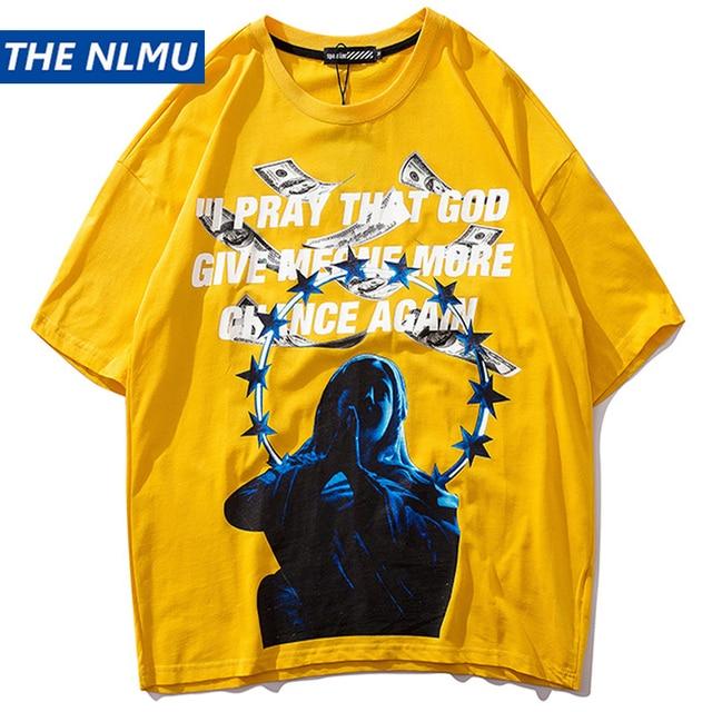Harajuku New Funny Printed T Shirt Men Hip Hop Streetwear T-Shirt Summer 2019 Cotton Reflective Design Top Tees Tshirts WJ246