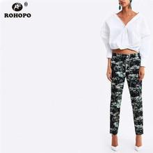 ROHOPO Autumn Women Floral Pencil Pant Office Ladies Vintage Vogue Ankle Leng Printed Trousers Bottoms #ZX1948