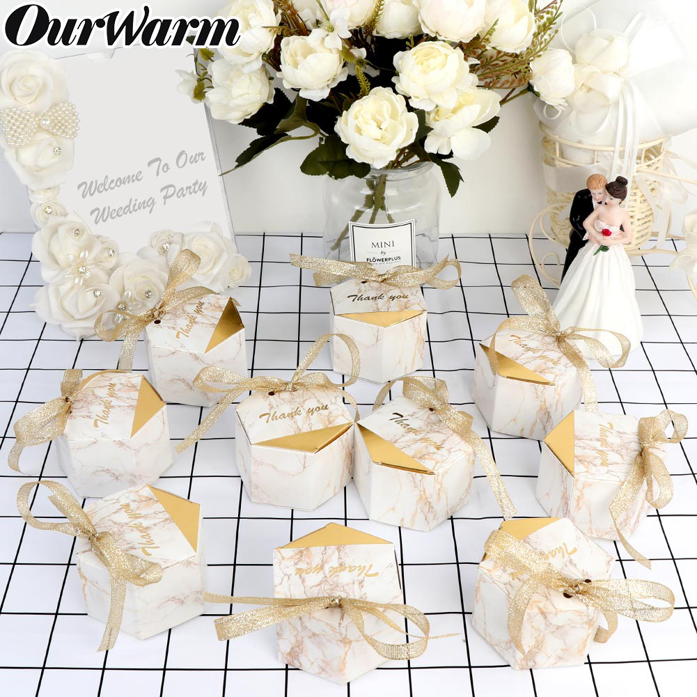OurWarm 10/20pcs Marbling Wedding Candy Box Thank You Box For Guest Baby Shower Birthday Gift Box Favors Event Party Supplies