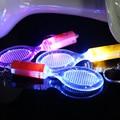 Popular luminoso ornamento accesorios raqueta de tenis llavero llaveros regalos creativos al por mayor colores mezclados 10 unids/lote