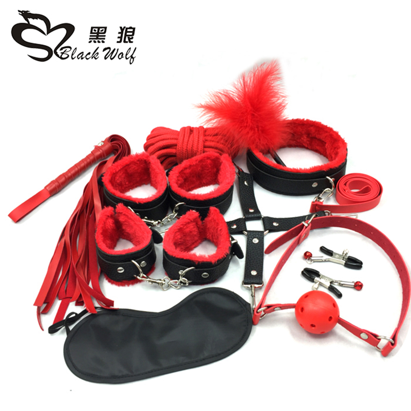 10PCS/LOT New Leather bdsm bondage Set Restraints Adult Games Sex Toys for Couples Woman Slave Game SM Sexy Erotic Toys Handcuff