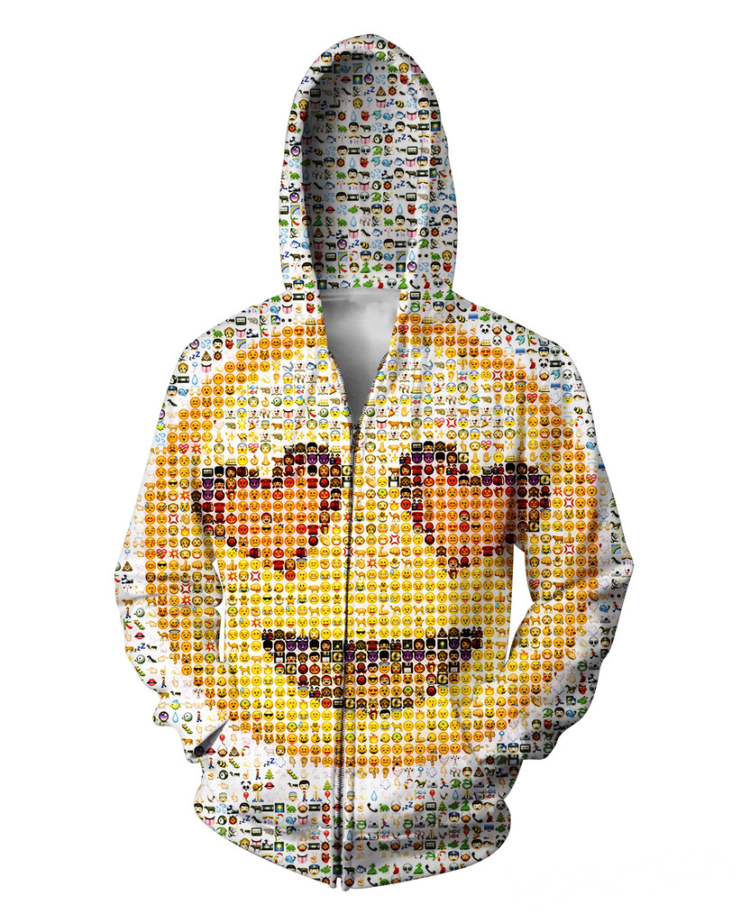 Emoji Zip-Up Hoodie photographic mosaic of the cute emoticons hooded Sweatshirt Women Men Tops Jumper Casual Outfits Coats