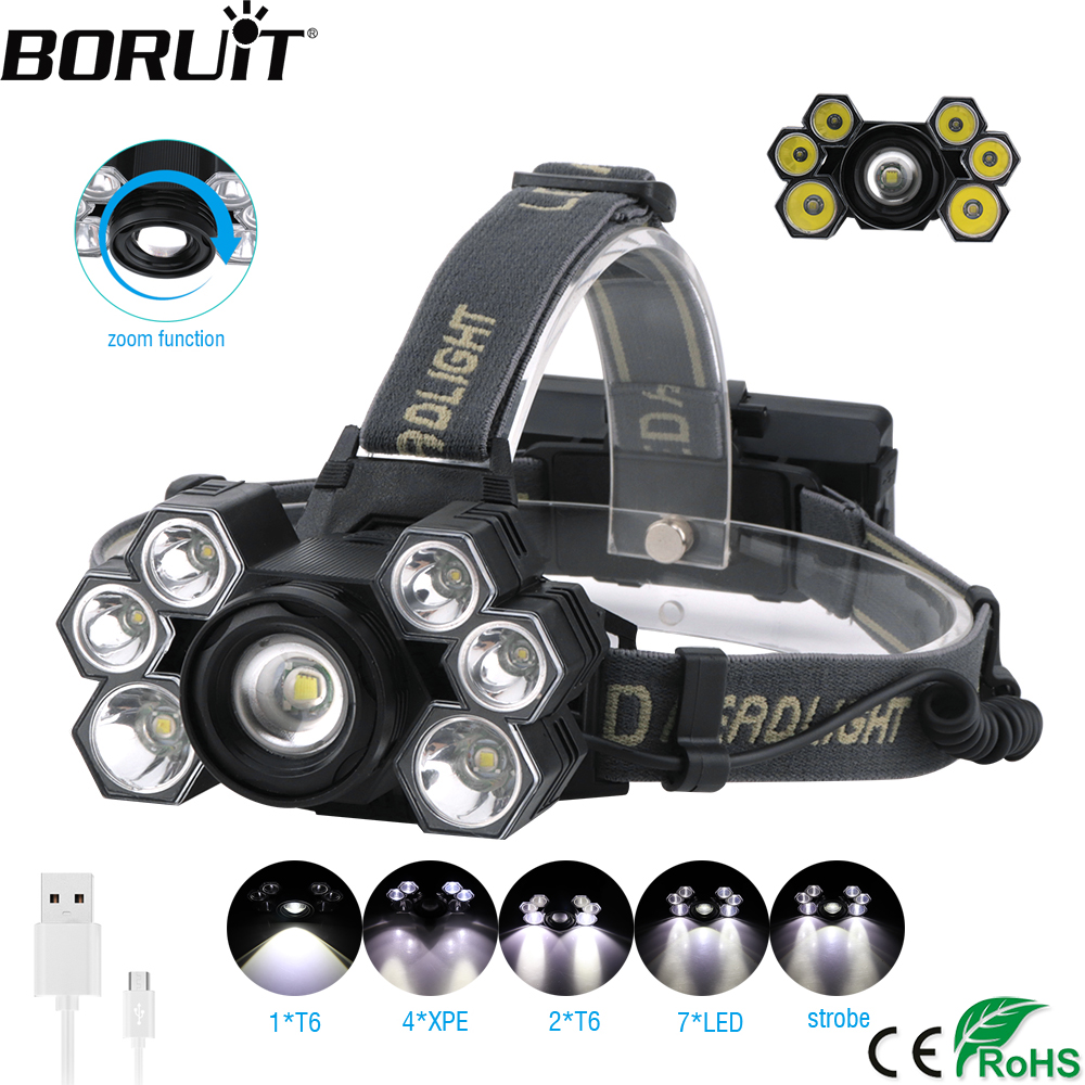 BORUiT 30000Lumens XML T6 XPE LED HeadLamp 5-Mode Zoomable Headlight USB Charger Head Torch Fishing Flashlight 18650 Battery