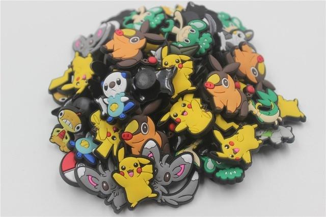 0f4e5317072e3 60Pcs PVC Pokemon Pikachu Shoe accessories Shoe Charms Shoe Decorations for Croc  Bracelet Wristband Kid Gift