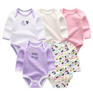 Image 2 - 5 יח\חבילה newbron 2018 חורף ארוך שרוול תינוקת ompers כותנה סט תינוק סרבל בנות roupa דה bebe תינוק ילד בגדים