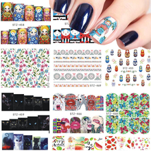 1 Sheets Nail Sticker Russian Doll/Cat/Flower/Fruit Water Transfer Decals Nail Art Beauty Tips Manicure DIY Tools STZ455-469