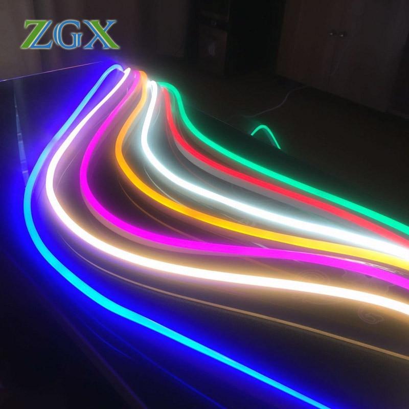 12 V LED de luz de tira Flexible al aire libre de Navidad de tira de LED decoración de tubo de 2835 de 120 LEDs/M de cuerda lámpara impermeable para Cocina RGB luz de neón cinta Flexible signo de LED neón lámpara de luz nocturna 2835 5050 120LEDs/m tira de LED remoto 24Key 110V 220V