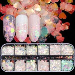 Image 4 - 1 סט ציפורניים גליטר פתיתי AB פאייטים אבקת הולוגרפית Spangles משולש מעוין 3D דק עיצוב ליטוש קישוט JIG04
