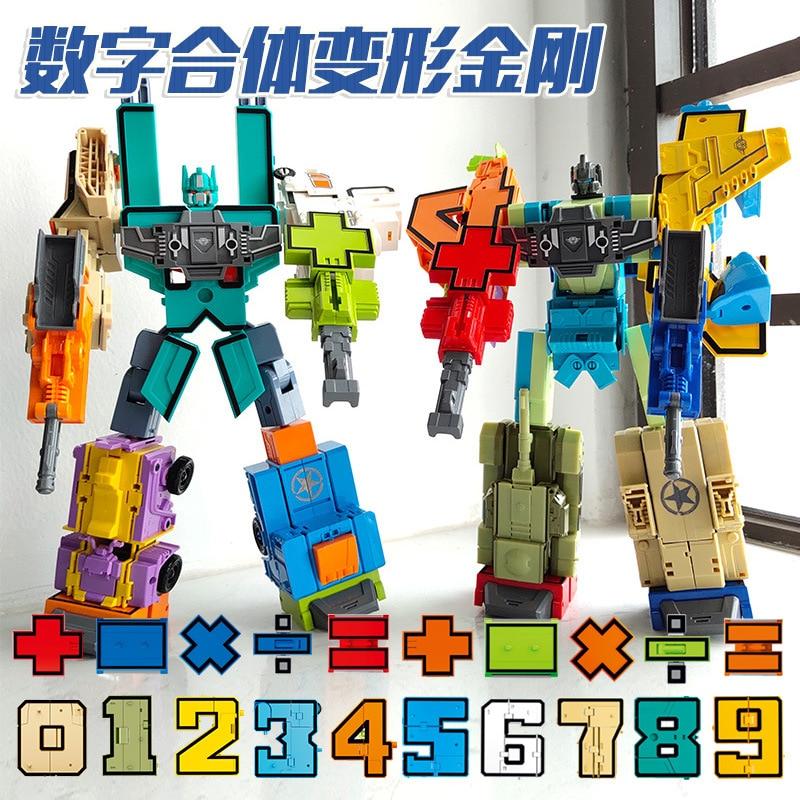 Educational Digital Number Magic Bruticus Defensor Transformation Toys Assembling Action Figure Robots Gifts For Kids
