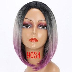 Image 5 - MERISI HAAR Kurze Perücke Gerade Bob Frisur Synthetische Haar Braun Gelb Ombre Grau Lila Perücken Für Frauen 12 inch Freiheit