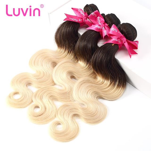 Luvin Ombre Blonde Brazilian Body Wave Hair 100 Remy Human Hair