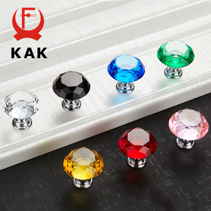 KAK 30mm Diamond Shape Design Crystal Glass Knobs Cupboard Pulls Drawer Knobs Kitchen Cabinet Handles Furniture Handle Hardware 16x 40mm clear diamond crystal glass door knobs drawer cabinet furniture kitchen