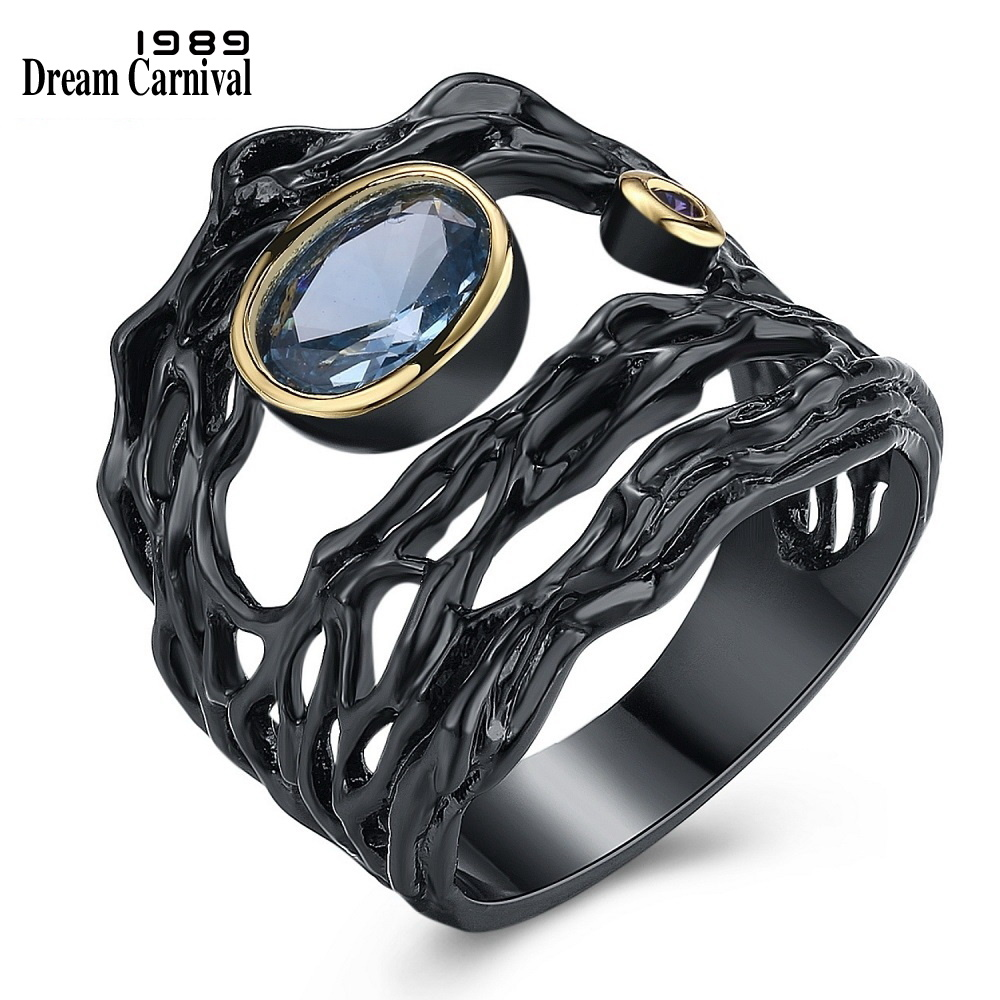 DreamCarnival 1989 Neo-Gothic Series Hollow Sea Blue Zirconia Vintage Ring for Women Black Gold Color Braided Jewelry Drop Ship punk style pure color hollow out ring for women