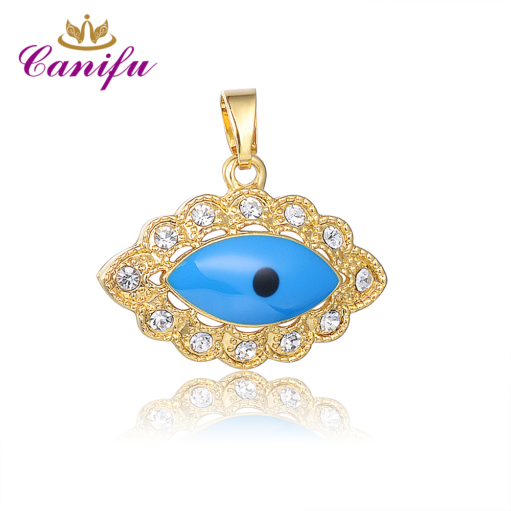 Canifu New arrival  Gold Color  Oval Evil Eye Pendant   Allah Muslim No Necklace Pendants with AAA CZ  factory price  50902