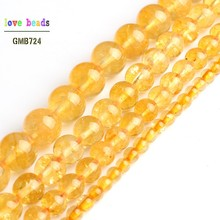 Natural Citrines Yellow Crystal Quzrtz Round Beads for Jewelry Making 15 Strand DIY Bracelet 4mm 6mm 8mm 10mm
