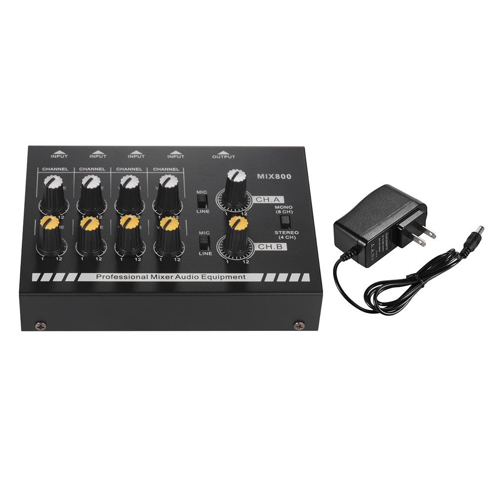 Professional Sound Mixer Compact Size 8-Channels Sound Mixer Mono/Stereo Audio Sound Line Mixer With Power Adapter