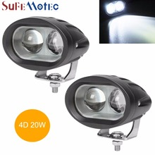 SufeMotec 4 Inch 20W Led Work Light Bar 4D Spot for Offroad Truck Motocycle 4x4 4WD Fog Lamp Headlight Mini White Amber Yellow