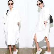 2016 Spring Women White Collar Asymmetric Hem Side Split Shirt Dress New Arrival Casual Long Sleeve Loose Dress Plus Size