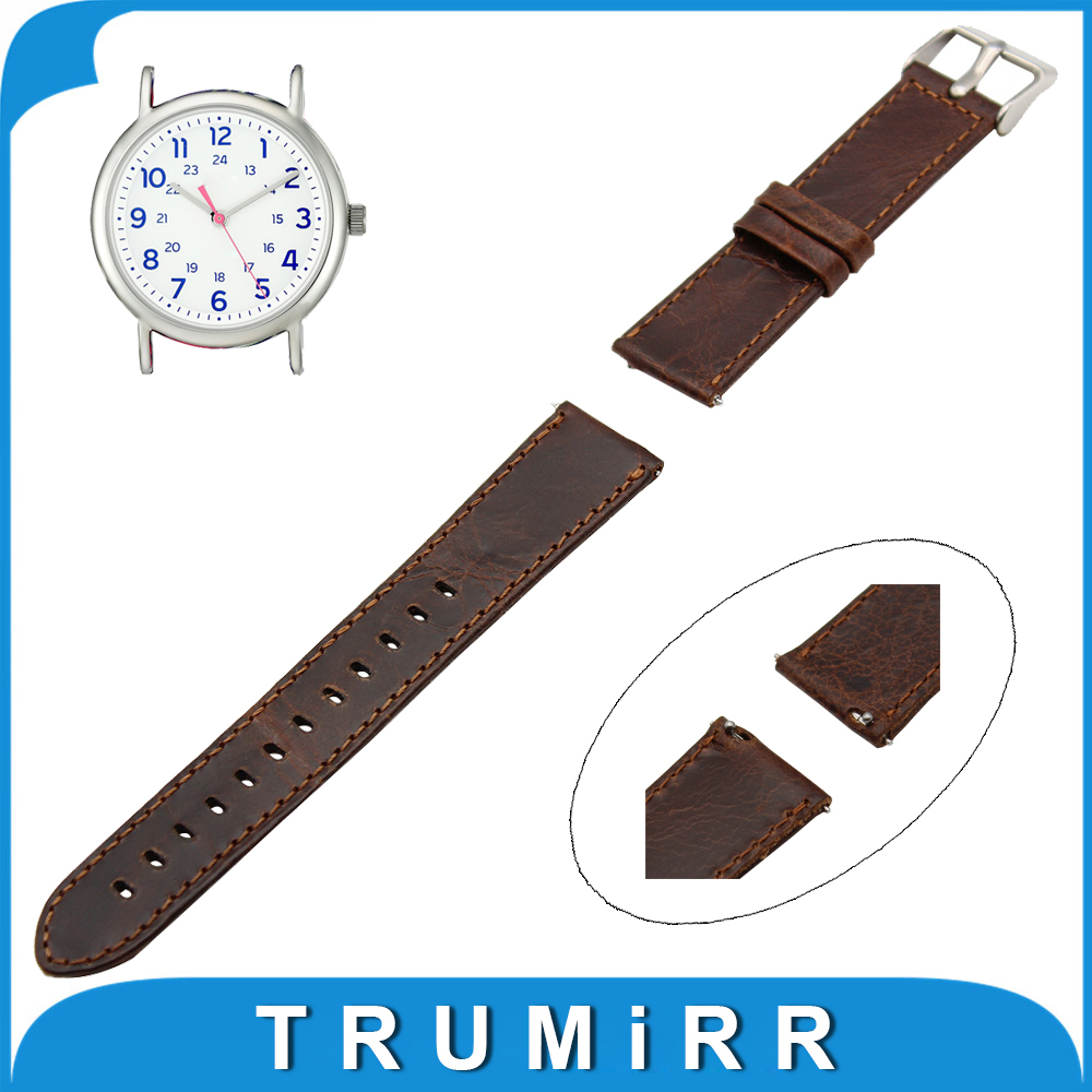 20mm 22mm Genuine Leather Watch Band Quick Release Strap Spring Bar for Timex Weekender Expedition Men