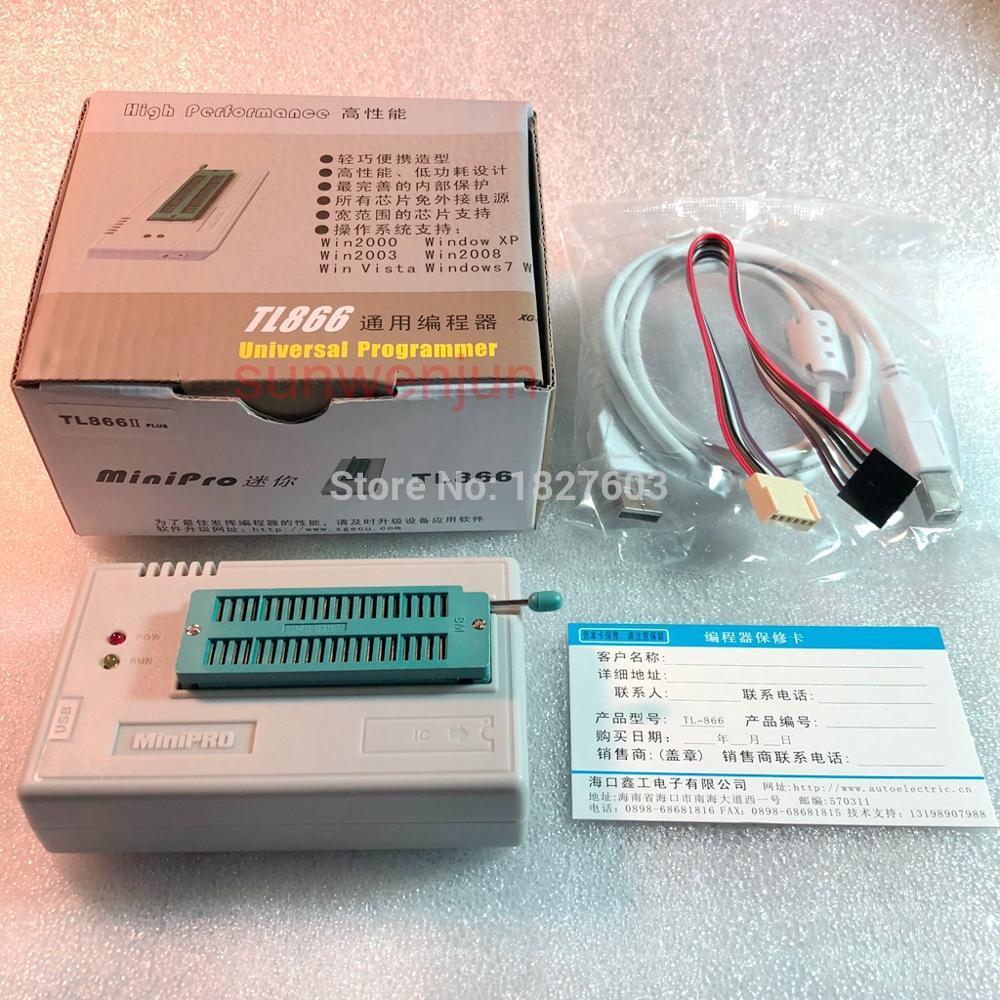 XGECU 100% genuine TL866II PLUS Programmer ICSP FLASH\EEPROM\MCU \NAND + 22 adapters+IC test clip replaceTL866A tl866a