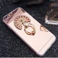 Menina espelho de maquiagem case para iphone 5 5s diamante anel de metal titular ficar para trás capa para iphone 4 4s tpu macio bling cat fur case